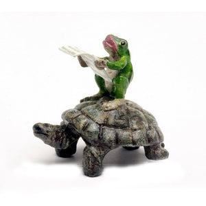Frog Newspaper, Turtle Vienna Bronze Figurine