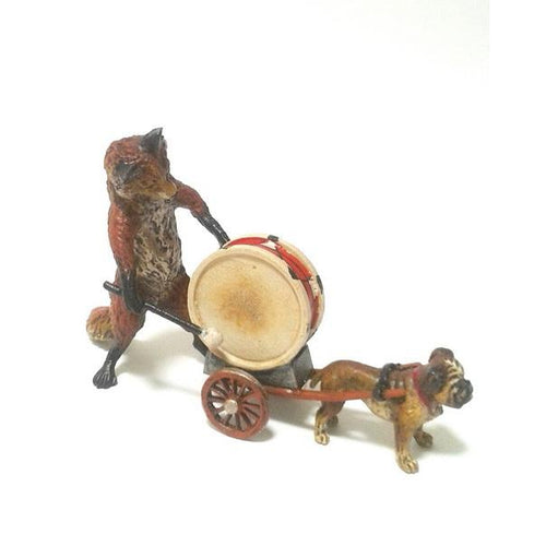 Fox Drum Pulled By A Pug (2 Pcs.) Vienna Bronze Figurine