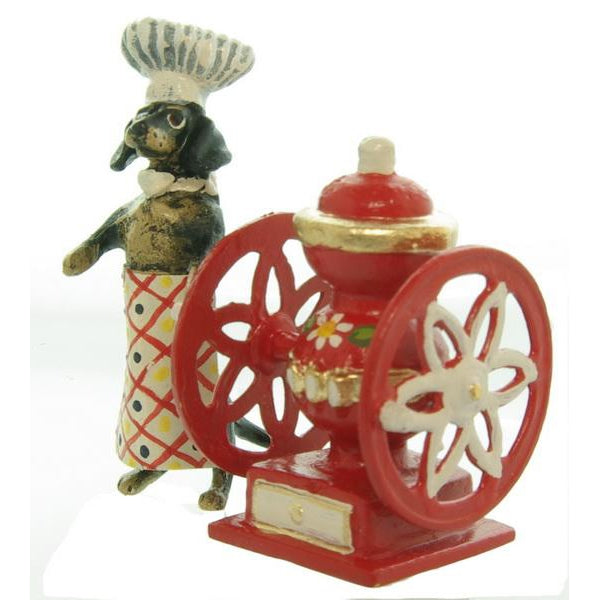 Dachshund Coffee Mill Red Vienna Bronze Figurine