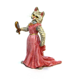 Cat Lady &. Mirror Vienna Bronze Figurine