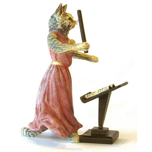 Cat Lady Conductors Desk Vienna Bronze Figurine