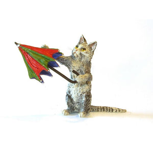 Cat With Colorful Umbrella Vienna Bronze Figurine