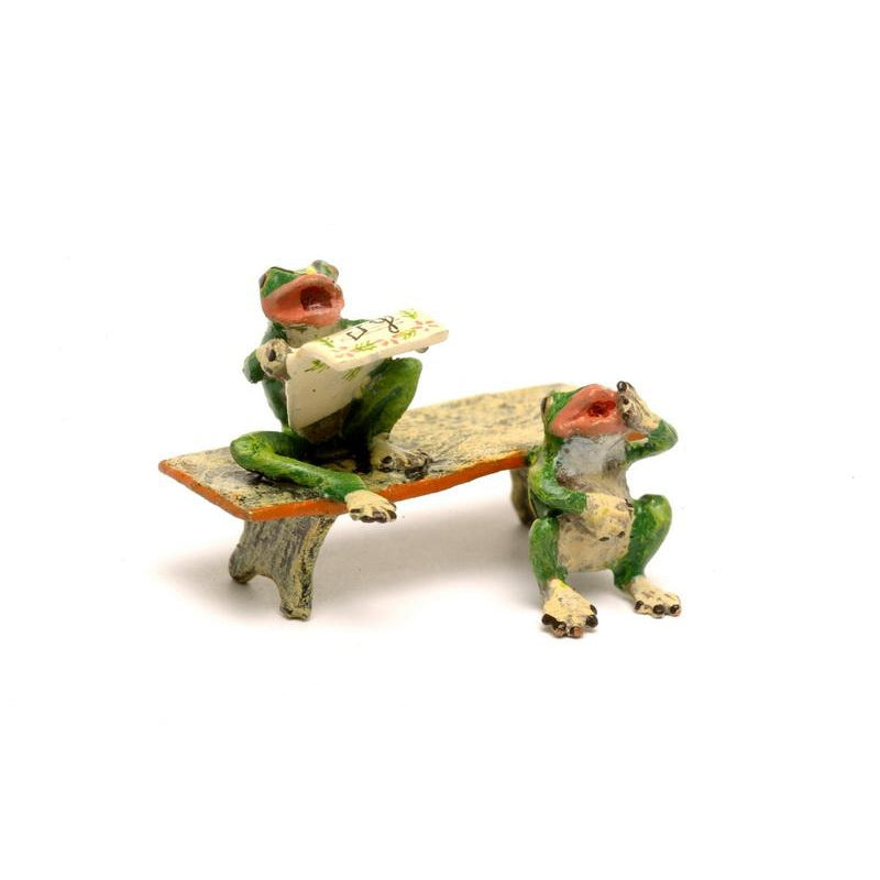 Frogs On Bench Vienna Bronze Figurine