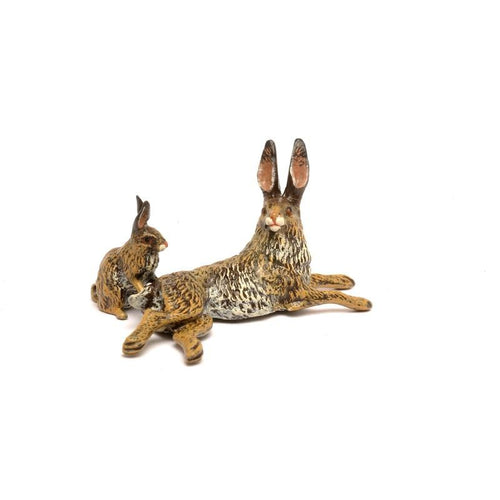 Rabbit Mother With Baby Vienna Bronze Figurine