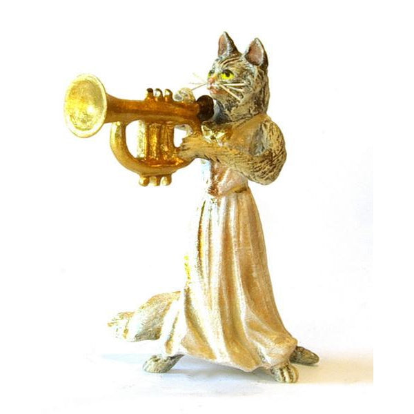 Cat Lady Trumpet Vienna Bronze Figurine