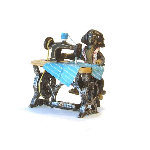 Dachshund Sewing Machine Vienna Bronze Figurine