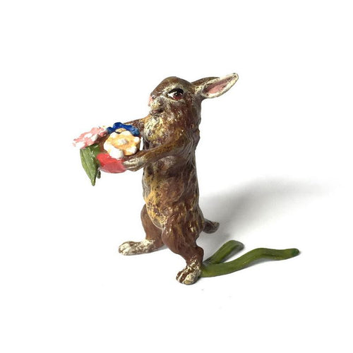 Rabbit With Flower Basket Vienna Bronze Figurine