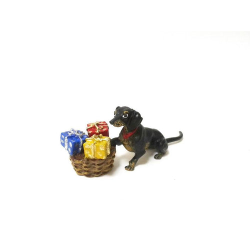 Dachshund With Gifts Vienna Bronze Figurine