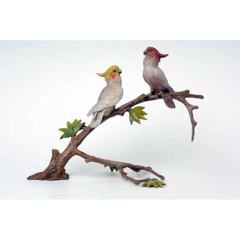 2 Cockatoos On Branch Vienna Bronze Figurine