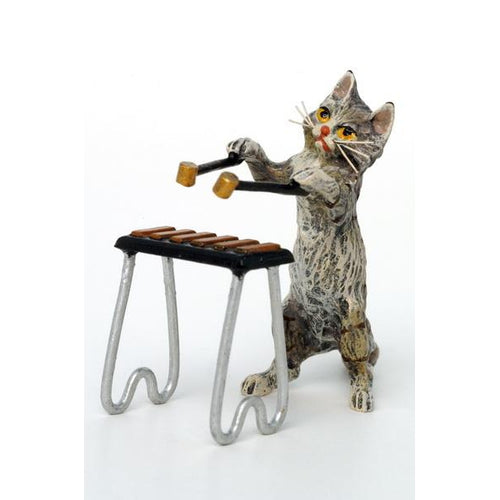 Cat Xylophone (2 Pcs) Vienna Bronze Figurine