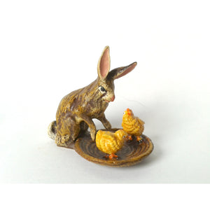 Rabbit / Taking Care On 2 Chicks Vienna Bronze Figurine