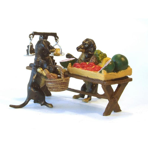 Dachshunds Selling Fruits Vienna Bronze Figurine