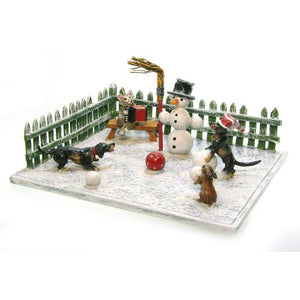 Snowman With Dachshunds In Garden Vienna Bronze Figurine