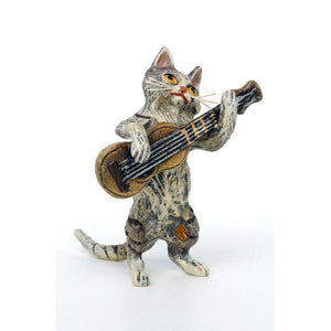 Cat Guitar Vienna Bronze Figurine