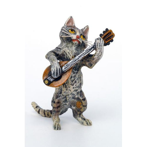 Cat Mandolin Vienna Bronze Figurine