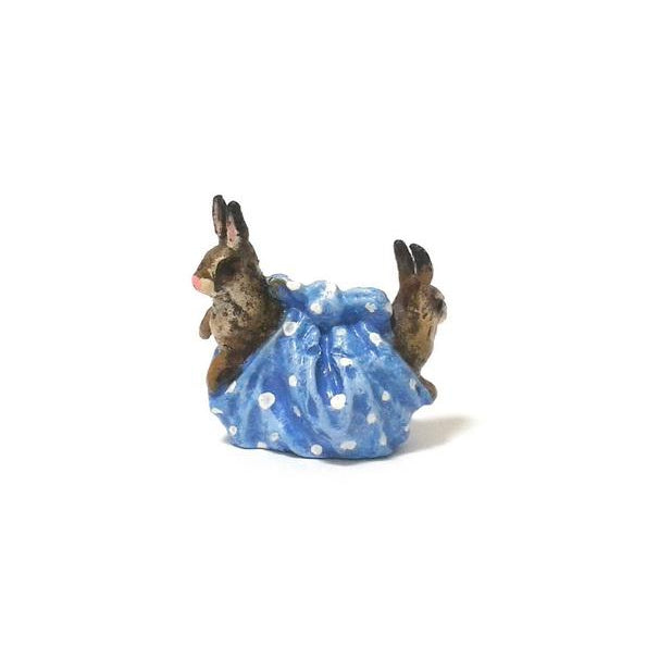 Rabbits In Cloth Vienna Bronze Figurine