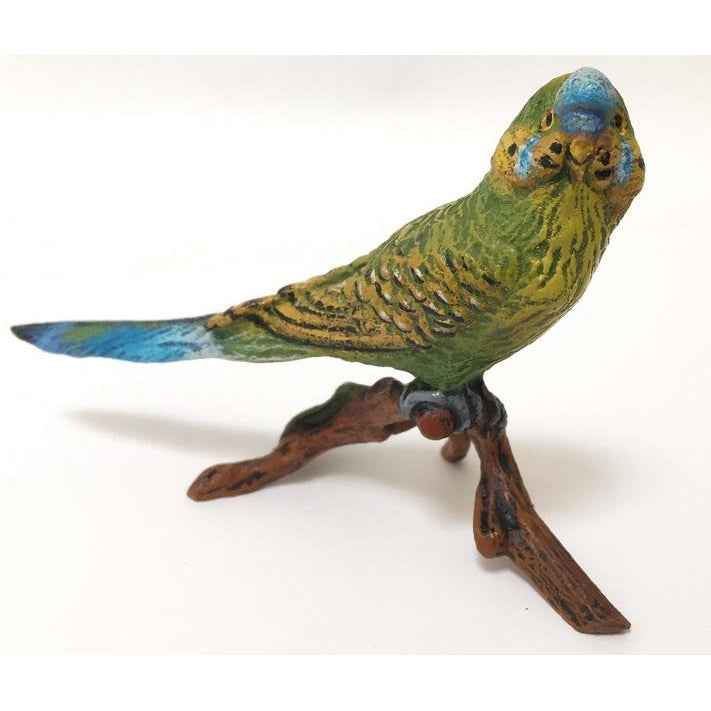 Green Parakeet On Branch Vienna Bronze Figurine