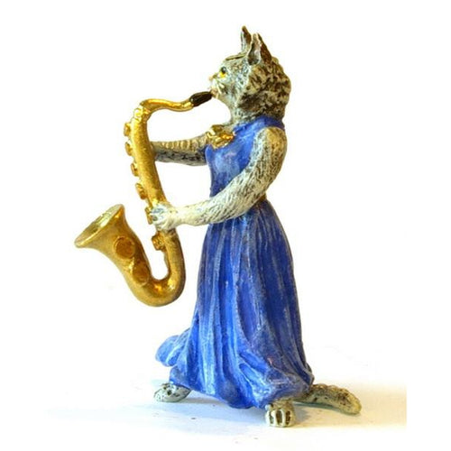 Cat Lady Saxophone Vienna Bronze Figurine