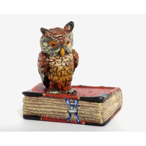 Owl On Red Book Vienna Bronze Figurine