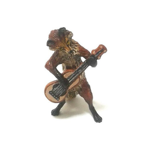 Fox Guitar Vienna Bronze Figurine