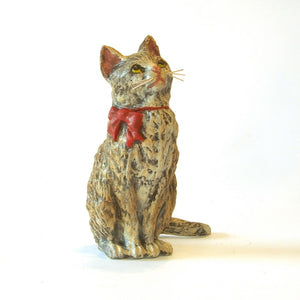 Cat Sitting With Red Ribbon Vienna Bronze Figurine