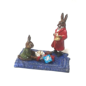 Rabbits On Carpet With Gifts Vienna Bronze Figurine