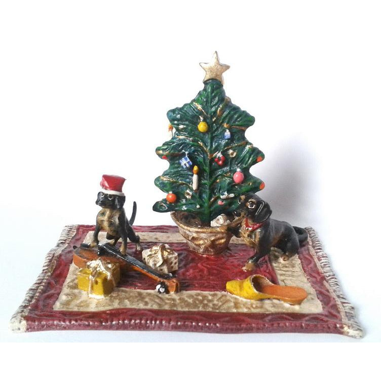 Christmas Scene with Dachshunds Vienna Bronze Figurine