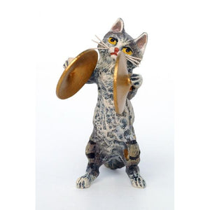 Cat Cymbal Vienna Bronze Figurine