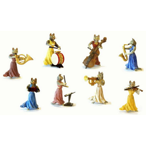 Cat Ladies Orchestra (8 Pcs.) Vienna Bronze Figurine