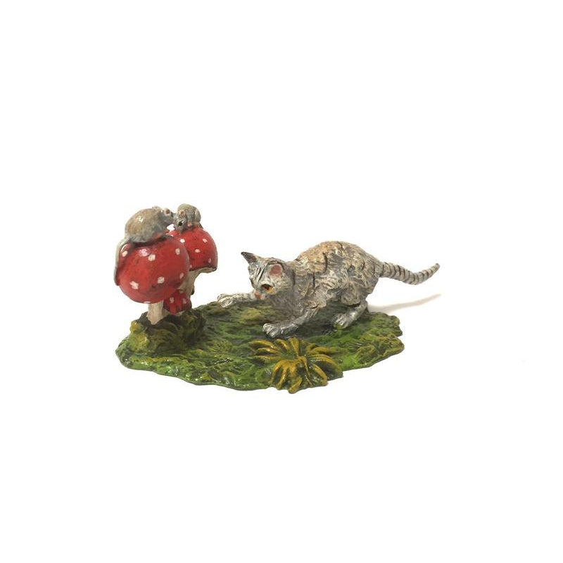 Cat Creeping Mice  /  Mushrooms Vienna Bronze Figurine