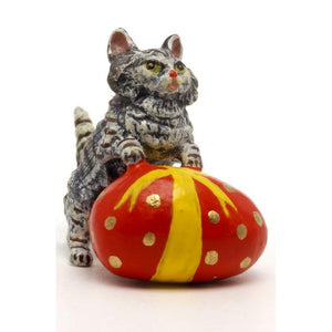 Cat With Easter Egg Vienna Bronze Figurine