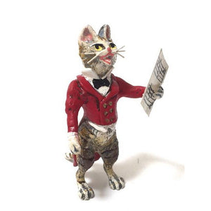 Cat Singer In Red Tails Vienna Bronze Figurine