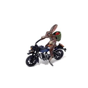 Rabbit On Motorcycle / Easteregg Vienna Bronze Figurine
