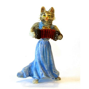 Cat Lady Accordion Vienna Bronze Figurine