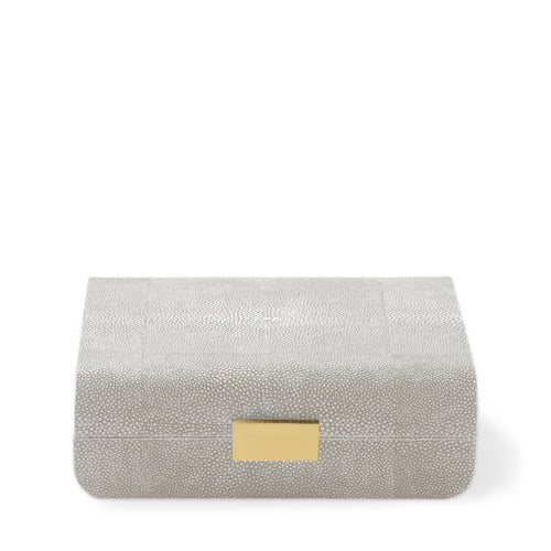 AERIN Modern Shagreen Small Jewelry Box - Dove