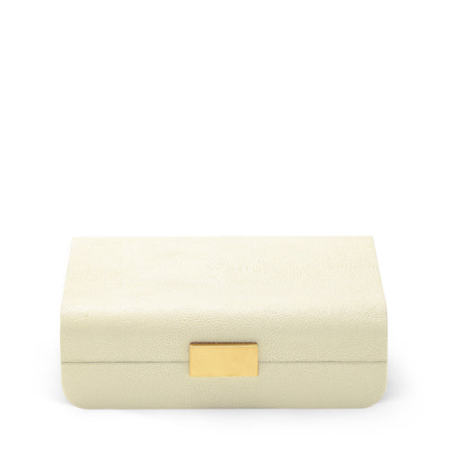AERIN Modern Shagreen Small Jewelry Box - Cream