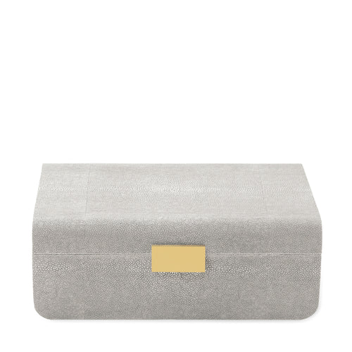 AERIN Modern Shagreen Large Jewelry Box - Dove