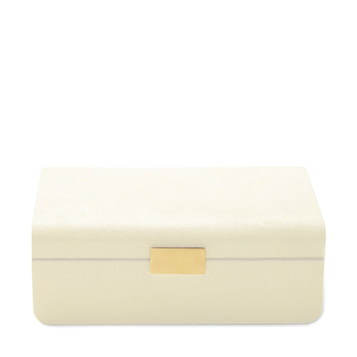 AERIN Modern Shagreen Large Jewelry Box - Cream