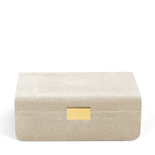 AERIN Modern Shagreen Large Jewelry Box - Wheat