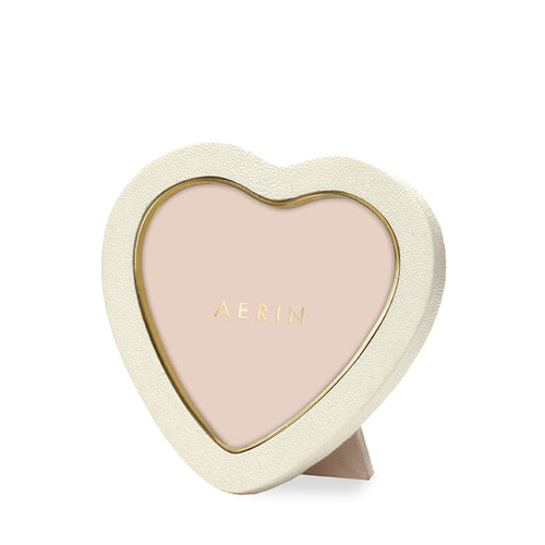 AERIN Shagreen Heart Frame - Cream