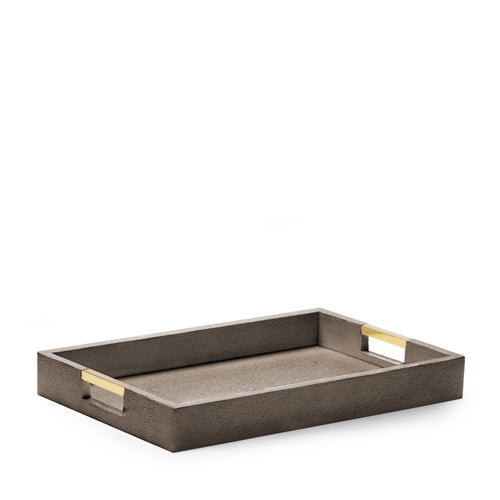 AERIN Modern Shagreen Desk Tray - Chocolate