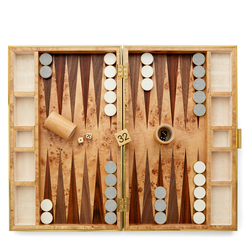 AERIN Shagreen Backgammon Set - Dove