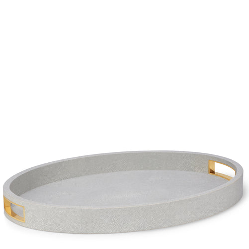AERIN Modern Shagreen Cocktail Tray - Dove