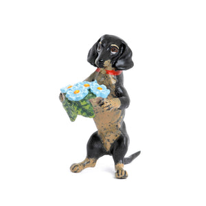 Dachshund With Forget-Me-Not Vienna Bronze Figurine