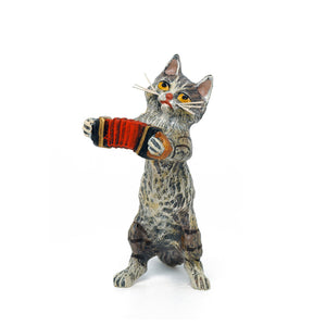 Cat Accordion Vienna Bronze Figurine