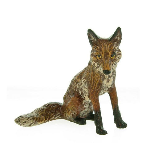 Fox Sitting Small Vienna Bronze Figurine