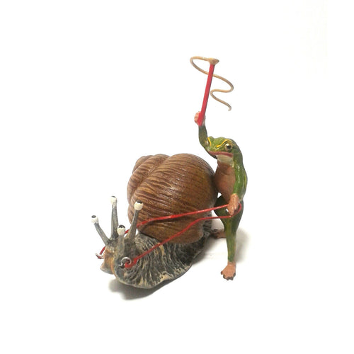 Frog On Snail / Big Vienna Bronze Figurine