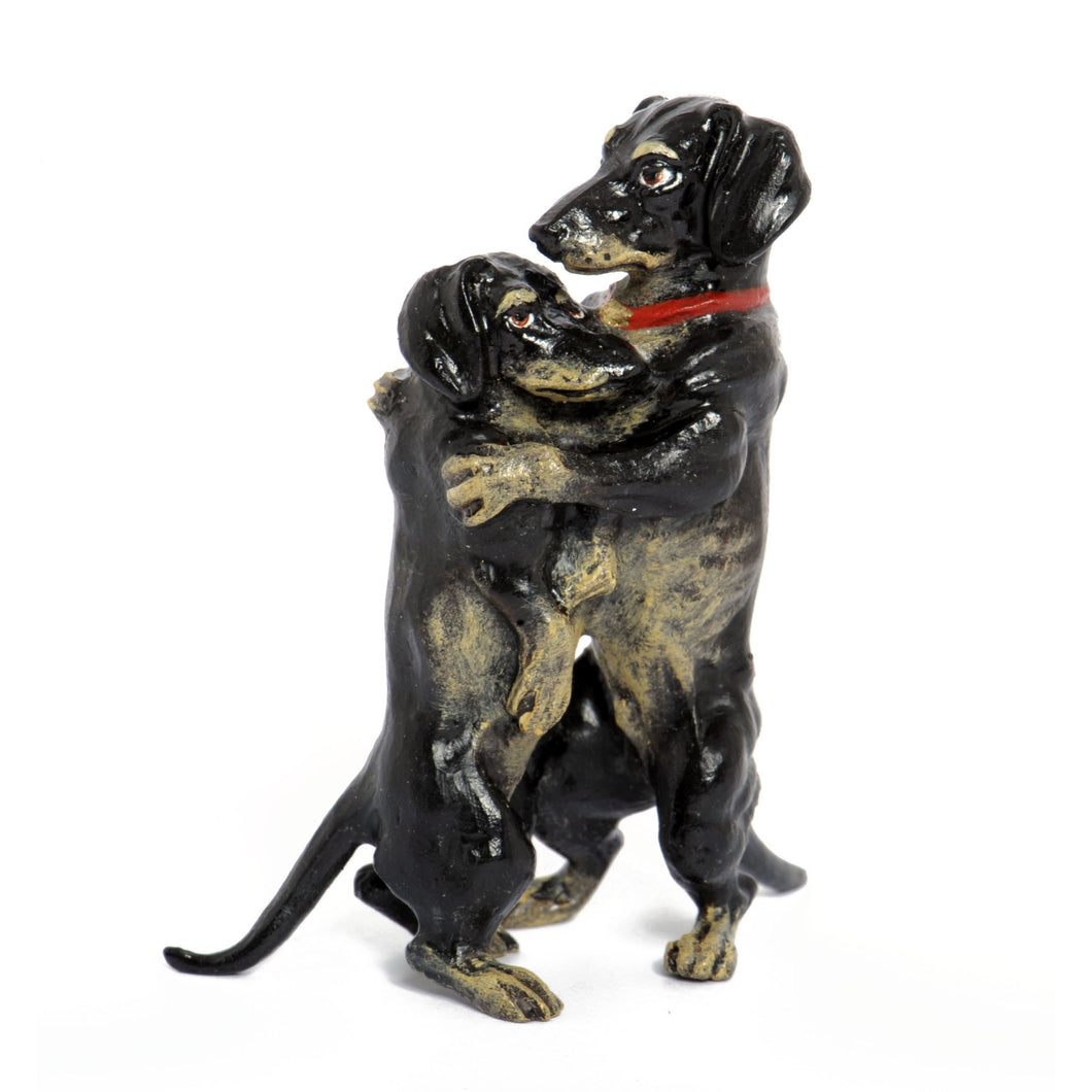 Dachshunds Embracing Vienna Bronze Figurine
