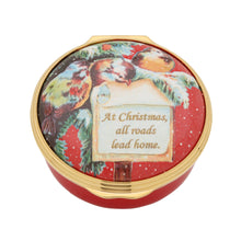 "Load image into Gallery viewer, Halcyon Days ""At Christmas All Roads Lead Home"" Enamel Box"