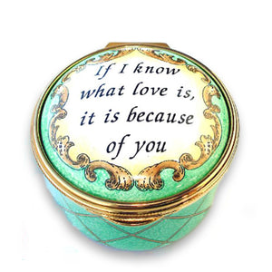 "Staffordshire ""If I Know What Love Is"" Enamel Box"